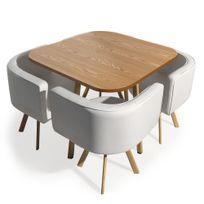 Menzzo - Table et chaises scandinaves Oslo Blanc et Chêne