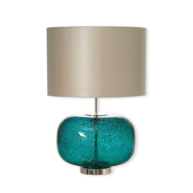 bruno evrard lampe en verre bleu avec abat jour 55cm verre souffl bouche bleu canard. Black Bedroom Furniture Sets. Home Design Ideas