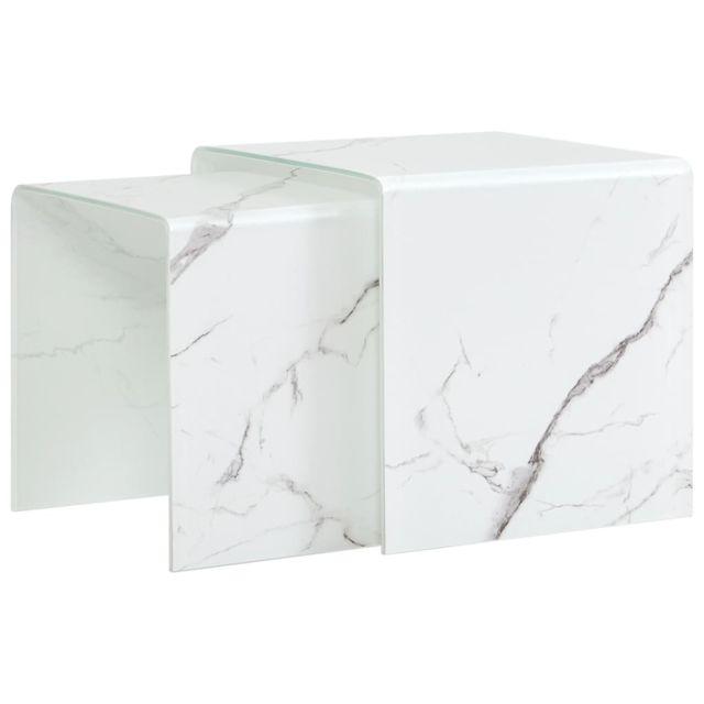 Vidaxl Tables Gigognes 2 pcs Blanc Marbre Verre Trempé Tables Basses Salon