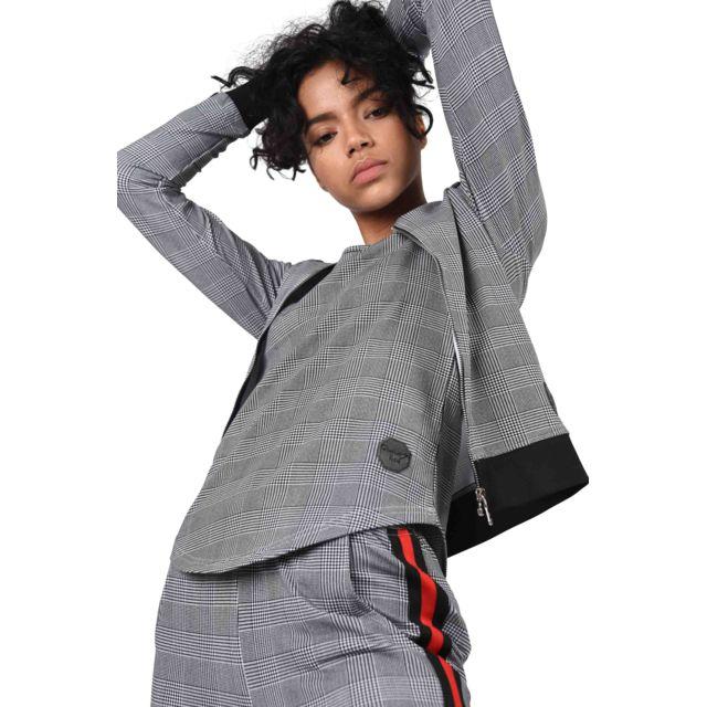Project X Sweat imprimé pied-de-poule et rayure à bandes bicolores Femme Paris, Taille: L, Couleur: Noir-Blanc