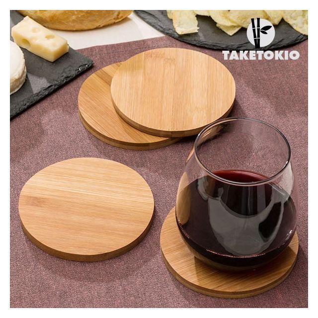 Taketokio Set de Sous-verres en Bambou pack de 4