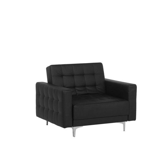 BELIANI Fauteuil en simili-cuir noir ABERDEEN - noir