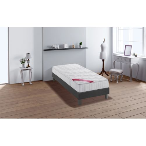 relaxima expert ensemble sommier matelas ressorts ensach s simmons 90x200 blanc anthracite. Black Bedroom Furniture Sets. Home Design Ideas