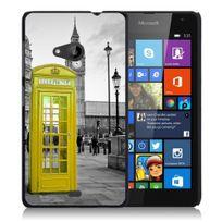 Kabiloo - Coque pour Microsoft Nokia Lumia 535 impression Motifs Cabine Uk Jaune