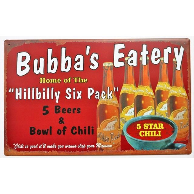 Universel plaque bubba s eatery hillbilly biere tole publicitaire usa