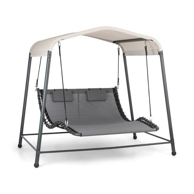 BLUMFELDT Palermo Double chaise longue à bascule autoportante , structure en acier , toît polyester , coussins inclus - Gris