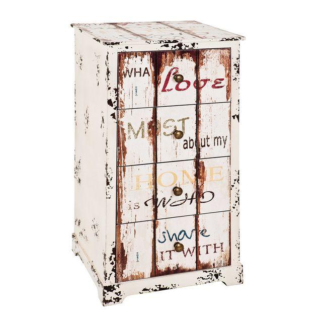 Haku Moebel Commode en bois 4 tiroirs H76cm L40cm Lovely Cheer
