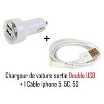Cabling - Chargeur allume cigare double Usb + câble Usb pour Apple iPhone 5, iPod touch 5e génération, iPod nano 7e génération, iPad Mini