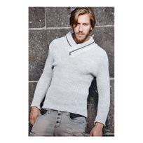 Beststyle - Pull homme col croisé gris