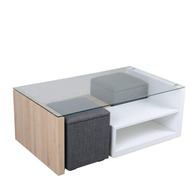 Alinea Vivo Table Basse Avec 2 Niches De Rangement Et 2 Poufs Coffre Pas Cher Achat Vente Tables Basses Rueducommerce