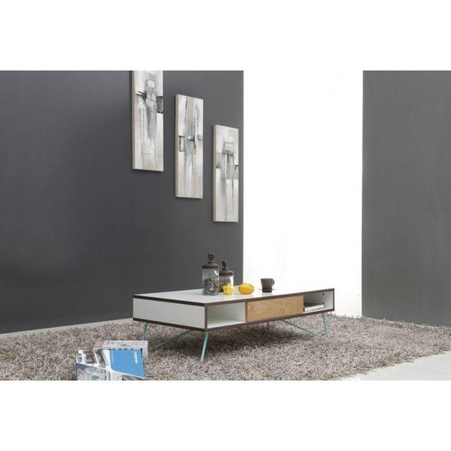 Meubletmoi Table basse 1 tiroir 120x60 cm - Helsinki