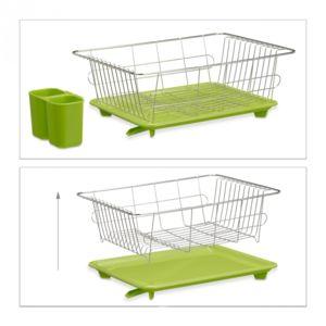 soldes helloshop26 egouttoir vaisselle en inox porte couverts vert bac plastique vert hxlxp. Black Bedroom Furniture Sets. Home Design Ideas