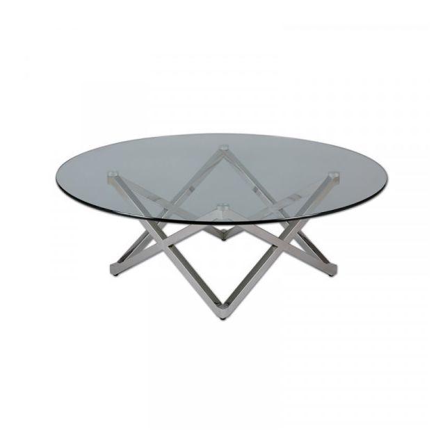 Dansmamaison Table basse Ronde Métal/Verre - Grib - L 105 x l 105 x H 40 cm