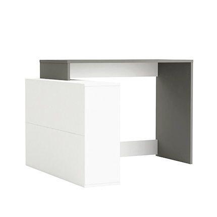 Bureau angle 4 niches en bois gris graphite et blanc