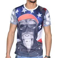 Celebrytees - Celebry Tees - T Shirt Manches Courtes - Homme - Monkey Biker - Blanc
