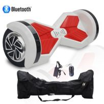 COOL AND FUN - COOL&FUN Hoverboard Batterie Samsung, Bluetooth,Scooter électrique Auto-équilibrage,gyropode connecté 8 pouces Blanc Rouge