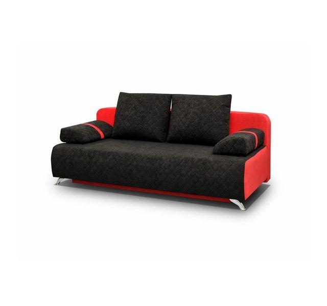 CHLOE DESIGN Canapé convertible en tissu LINA - noir et rouge