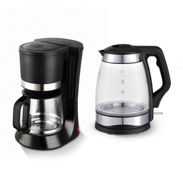 Pem Set petit déj - Bouilloire en verre 1.7L finition inox 2000W + Machine à café 1.2L
