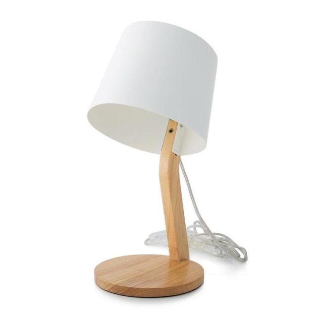 Marbella Lighting - Woody-lampe à poser Métal/Bois H36,5cm Blanc