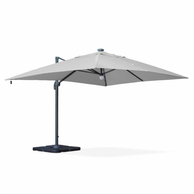 alice 39 s garden parasol d port solaire led rectangulaire 3 x 4 m haut de gamme luce gris. Black Bedroom Furniture Sets. Home Design Ideas