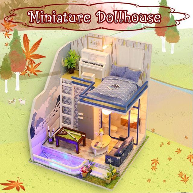 GÉNÉRIQUE 3D en bois bricolage Miniature Dollhouse Puzzle Box décorer des cadeaux d'artisanat créatif