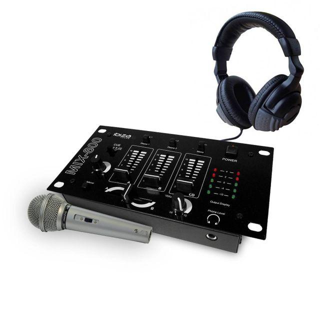 Ibiza sound pack table de mixage 3 voies 5 entr es casque - Frais de port gratuit rue du commerce ...