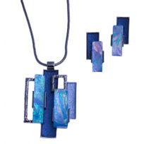 Fantzi - Parure fantaisie - collier époxy bleu - résine 40+9 cm + boucles d'oreille assor