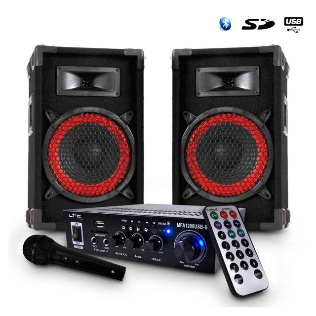 Ibiza Sound Karaoke Ampli noir Usb/BT/MP3/BLUETOOTH 100W + 2 Enceintes Dj 8