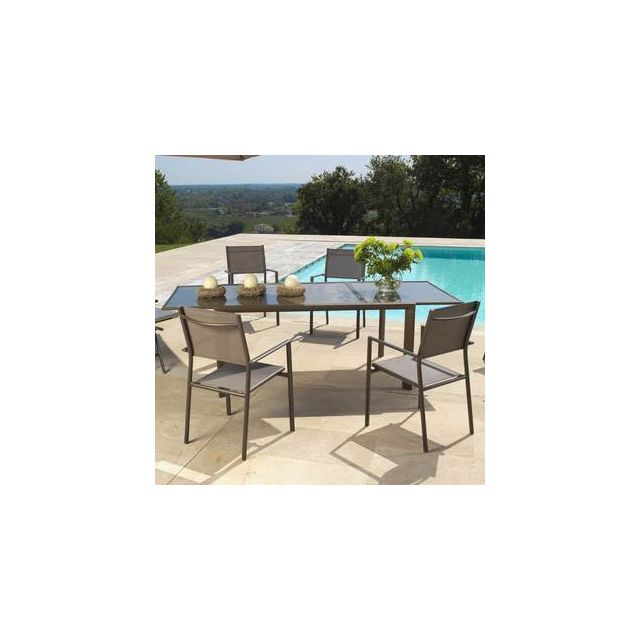 Salon de jardin 6 places Aluminium : Table 160/230x100cm + 6 ...