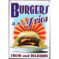 Universel - plaque burgers & fries tole deco snack pub restaurant usa