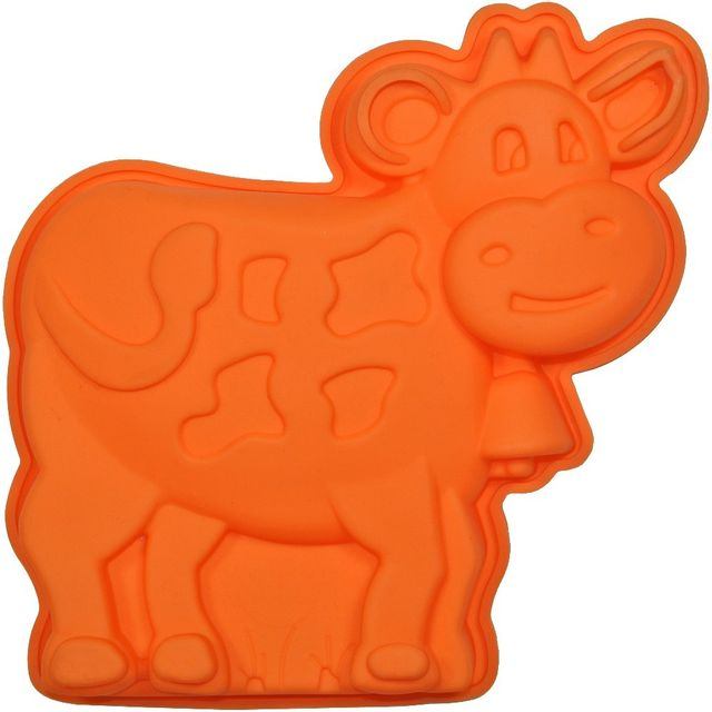 Promobo Moule à Gateau en silicone Vache Forme Ludique Animal Orange