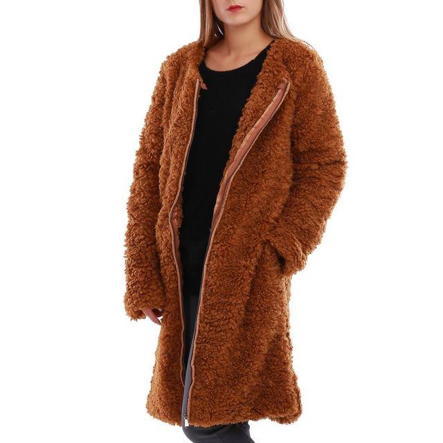 Manteau long femme imitation fourrure
