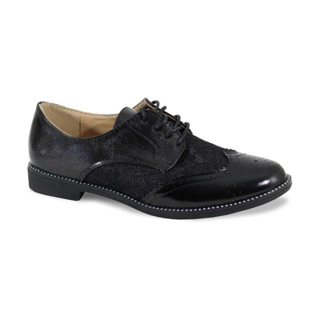Alistair By Shoes Derbies Avec Dentelle Bi Matière - Femme - Taille 41 - Black