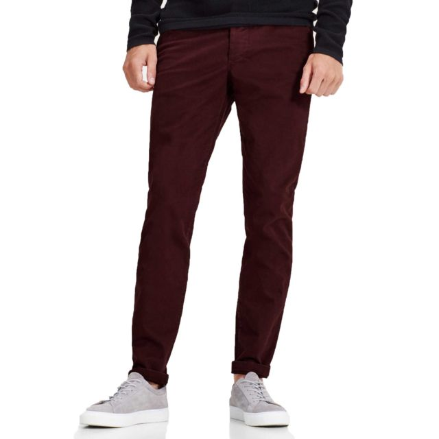 Pantalon chino slim marco bordeaux