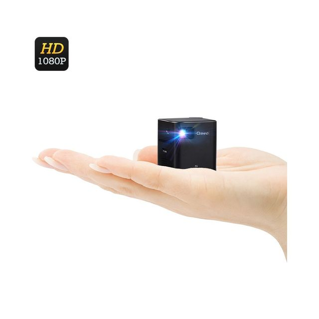 Auto-hightech Mini Projecteur Dlp Corps en aluminium, Support 1080p, 80 Lumens Ansi carte sd Noir