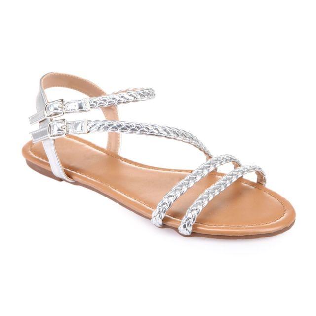 Lamodeuse - Sandales argentées à brides tressées - pas cher Achat ... 121c4570bb3e
