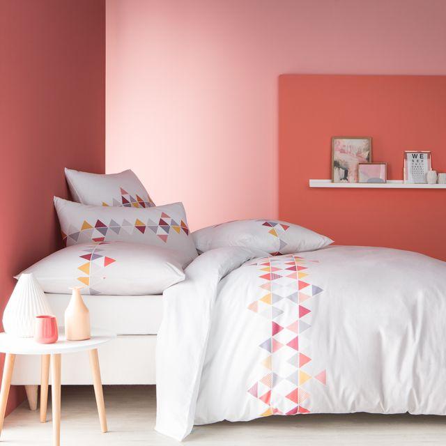 matt rose housse de couette imprim fantaisie lie de vin 100 coton matt et rose blanc pas. Black Bedroom Furniture Sets. Home Design Ideas