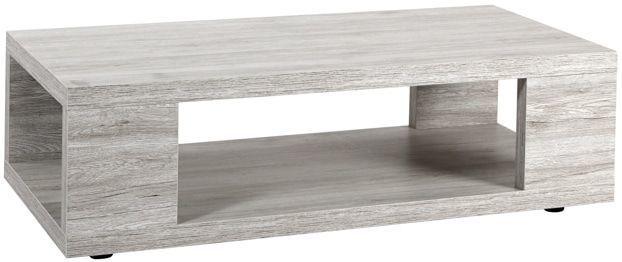 Comforium Table basse rectangulaire contemporaine 120 cm avec plateau inférieur coloris Portofino