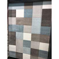 alya tapis tapis de salon dco pastel a carreaux bleu et gris - Tapis De Salon Bleu