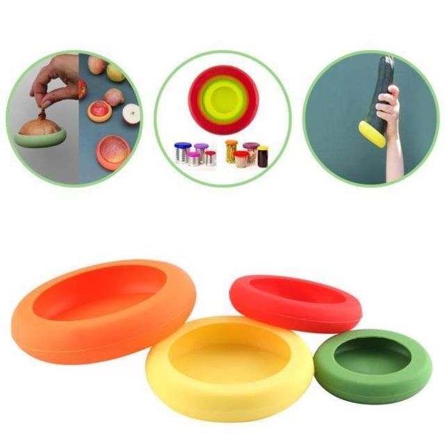 No Name Lot de 4 Couvercles d'aliments en Silicone Couverts
