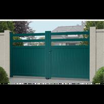 Sonnier Bois Panneaux Menuiserie - Portail Aluminium Pampelonne - Coulissant  2 Vantaux assemblés Couleur - Gris 9fe2dbd5140d