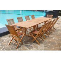Concept Usine - Kajang: Salon en teck massif 12 pers + 10 chaises + table rectangulaire