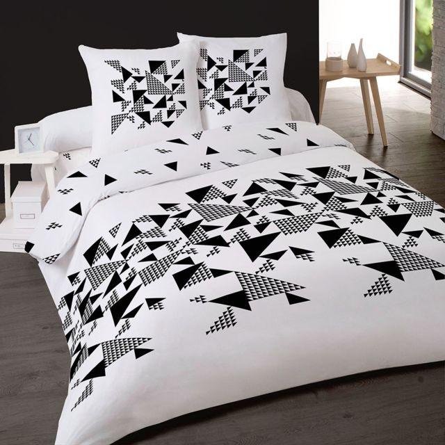 dourev housse de couette 200x200cm 2 taies triangles 200cm x 200cm pas cher achat vente. Black Bedroom Furniture Sets. Home Design Ideas