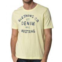 Mustang - Tee-Shirt Homme Jaune Imprimé