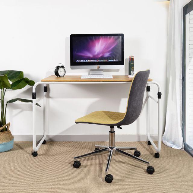 Meuble Express Bureau d'ordinateur table chêne bois métal