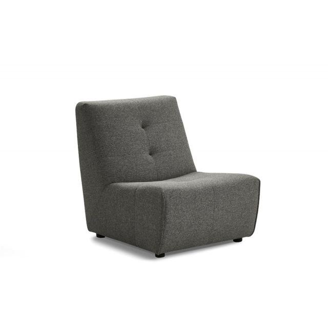 MEUBLETMOI Module chauffeuse pour canapé composable Tissu gris - Origami