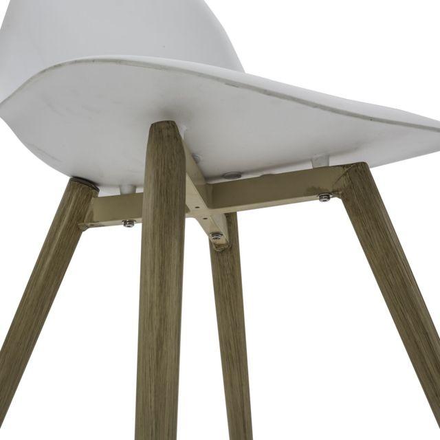 Chaise de jardin scandinave North Blanc pieds effet bois