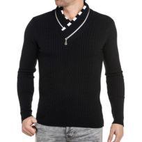 BLZ Jeans - Pull noir col chale zippé homme