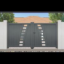 Portail Aluminium Rayol - Couleur - Gris Ral 7016 satiné, Longueur - 3m