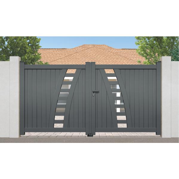sonnier bois panneaux menuiserie portail aluminium rayol couleur blanc ral 9010 satin. Black Bedroom Furniture Sets. Home Design Ideas